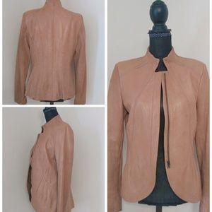Elie Tahari Genuine Leather Stitch Details Jacket